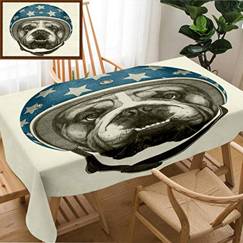 Skocici Unique Custom Design Cotton and Linen Blend Tablecloth Portrait of English Bulldog with Helmet Hand Drawn IllustrationTablecovers for Rectangle Tables, 60