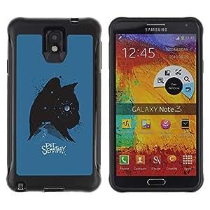 "Pulsar iFace Series Tpu silicona Carcasa Funda Case para SAMSUNG Galaxy Note 3 III / N9000 / N9005 , Gatito Gato Mascotas Estrellas Spooky Azul Negro"""