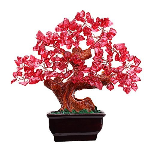 Parma77 Mart Feng Shui Red Crystal Money Tree Bonsai Style Decoration for Wealth and Luck (Decor Chinese Home)