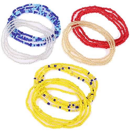 AOPOO 6 Piece Waist Beads,Summer Jewelry, Bikini, Belly, African Waist Beads, Colorful Waist Beads Set Body Chain for Beach Wear