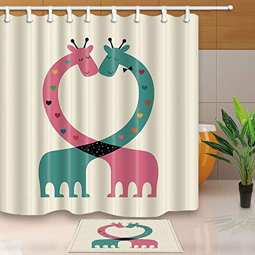 SZZWY Animal Shower Curtains Cartoon Giraffe Intertwine Heart-Shaped Romance 69X70in Resistant Polyester Fabric Shower Curtain Set with 15.7x23.6in Flannel Non-Slip Floor Doormat Bath Rugs ()