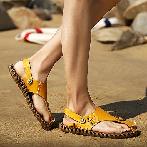 Aisun Mens Alla Moda Allaperto Antiscivolo Sandali A Slitta Piatta Da Spiaggia Scarpe Da Spiaggia Gialle