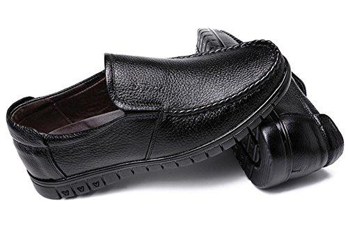 Hombres Casual Cuero Zapatos Plano Pies Conducción Zapatos De los hombres Negocio Oxford Zapatos Black