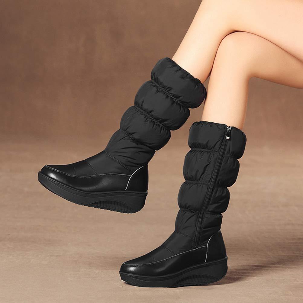 T-JULY Ladies Winter Fur Inside Mid Calf Boots Warm Snow Boots Female Wedges Heels Zipper Boots