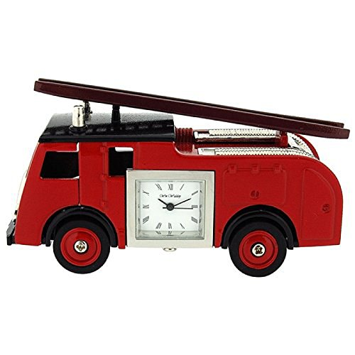(Miniature Red Fire Engine Truck Ornament Novelty Collectors Clock 9860)