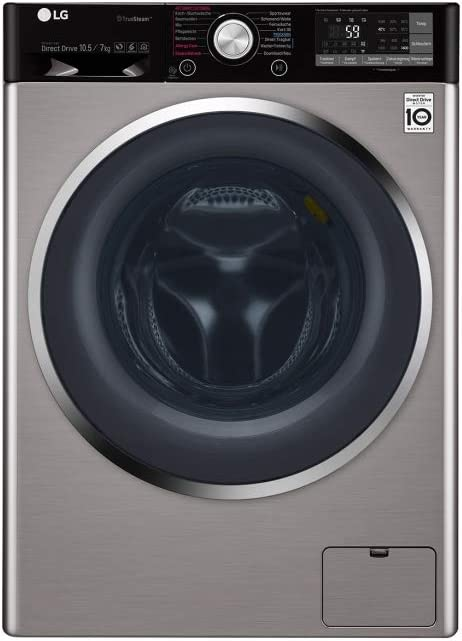 LG F14WD107TH6 lavadora Carga frontal Independiente Negro, Acero ...