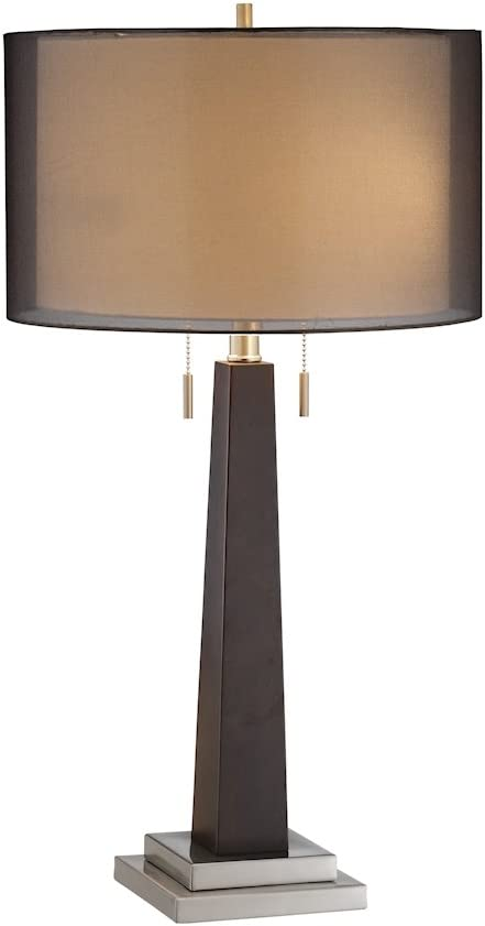 Stein World Furniture Jaycee Table Lamp, Ebony, Brushed Steel