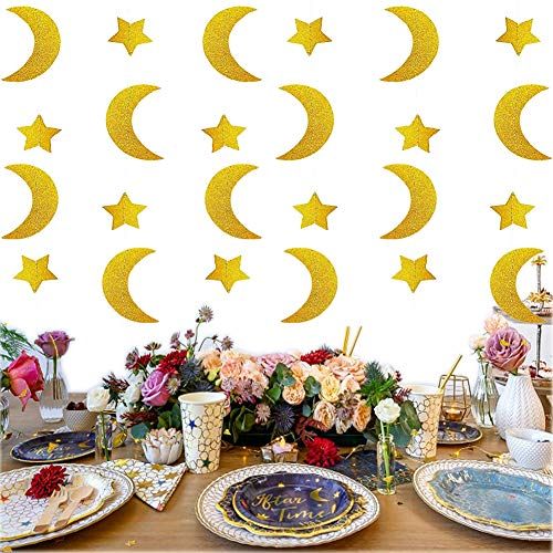 SLONLI Ramadan Decorations for Home Ramadan Kareem Banner with Gold Moon and Star Ramadan Decor for Eid Decorations Home Party Supplies