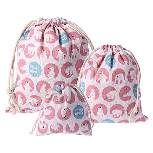 Hacloser Drawstring Tote Storage Bag Polar Bear Pattern Cotton Linen Organizer Underwear Toy Gift (S + M + L) ()