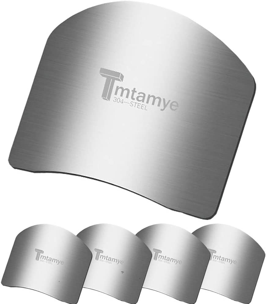 Tmtamye 5 Pcs Finger Guards for Cutting Vegetables Stainless Steel Knife Cutting Protector Kitchen Tool Avoid Hurting When Slicing and Chopping Kitchen Safe Chop Cut Tool