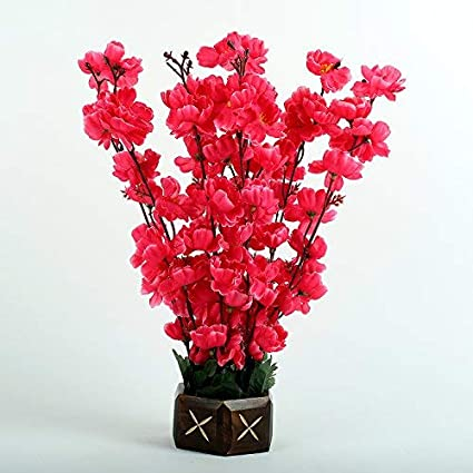 Amazon.in & Hyperboles Artificial Flowers Fake Rani Blossom with Wooden Pot (32 cm) (9 Sticks)