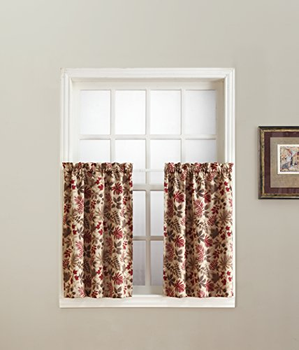 - No. 918 Woodland Leaf Kitchen Curtain Tier Curtain Pair, 56