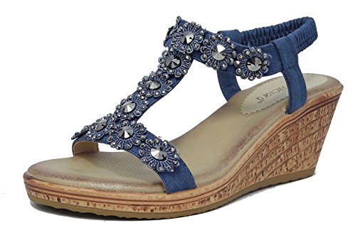 Womens Ladies Leather Look Slingback Comfort Sandals Flower Studs Jewels Black Pewter Blue Size 3 4 5 6 7 8 Blue apCOthFpa