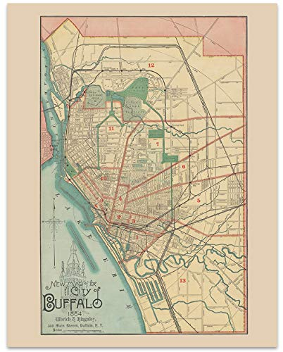 Buffalo New York Vintage Map Circa 1884-11 x 14 Unframed Print - Great Housewarming Gift. Buffalo Themed Office Decor. Great Gift for a Real Estate Agent or ()