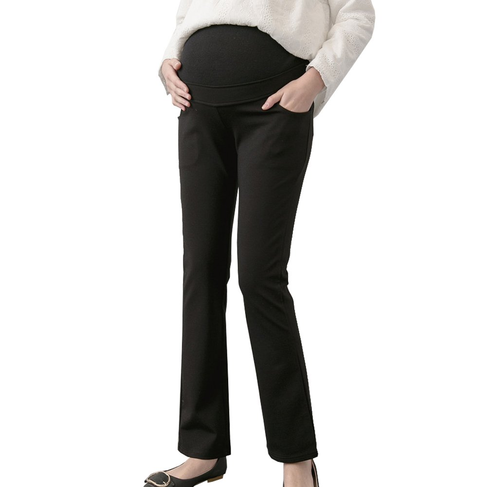 Maternity Women's Over The Belly Stretch Bootcut Career Dress Pants Black Tag XL - US 8-10