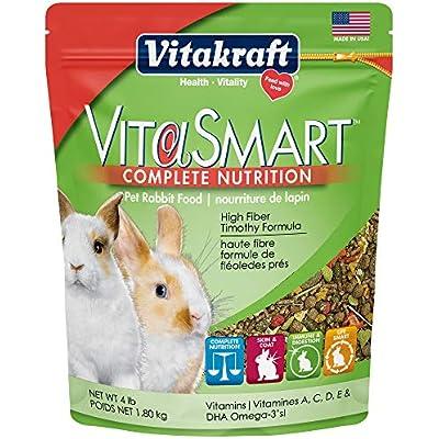 Vitakraft Vitasmart Pet Rabbit Food - High Fiber Timothy Formula, 4 Lb.