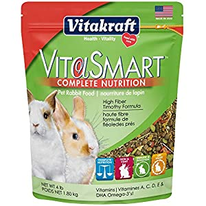 Vitakraft Vitasmart Pet Rabbit Food – High Fiber Timothy Formula, 4 Lb.