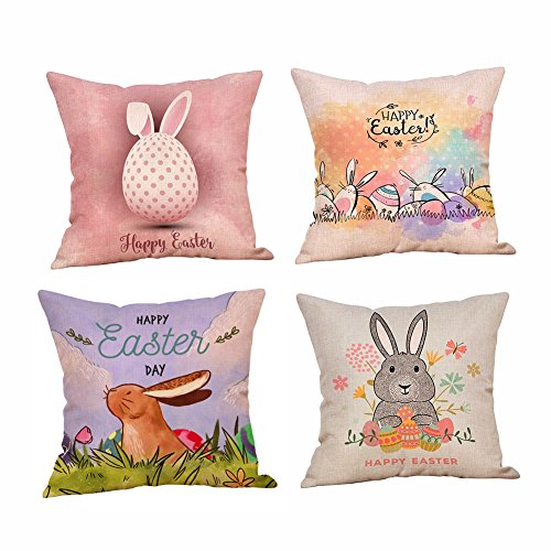 BlueSpace Throw Pillow Covers Easter Eggs Bunny Rabbit Cotton Linen Pillow Case Cushion Cover Square 18x18 Inch Home Decor Set of 4