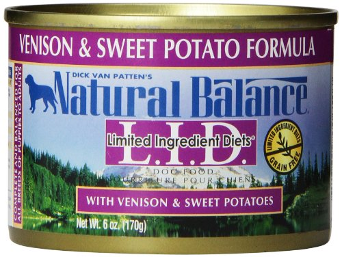 Cheap Natural Balance L.I.D. Limited Ingredient Diets Canned Wet Dog Food, Grain Free, Venison and Sweet Potato Formula, 6-Ounce (Pack of 12)