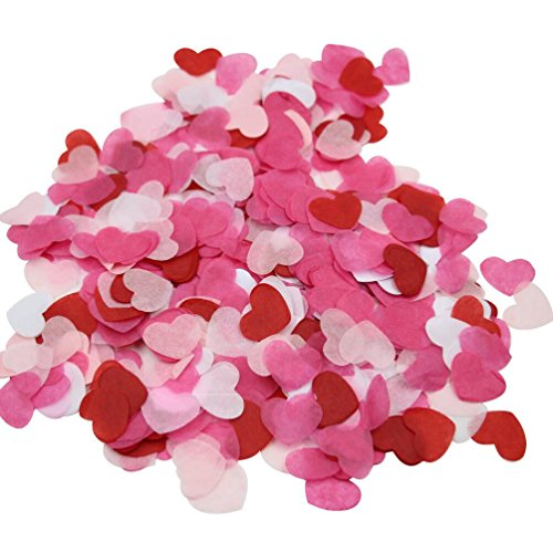Mybbshower 1 Inch White Pinks Red Tissue Paper Heart Confetti Wedding Reception Decoration Table Scatter Pack of 100 Grams
