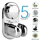 Vacuum Suction Cup Shower Head Pedestal Holder Removable Head Stand Shower Clip Reusable Adjustable With Adhesive Sucking Disc For Bathroom's Wall Or Bathtub,By WllRun