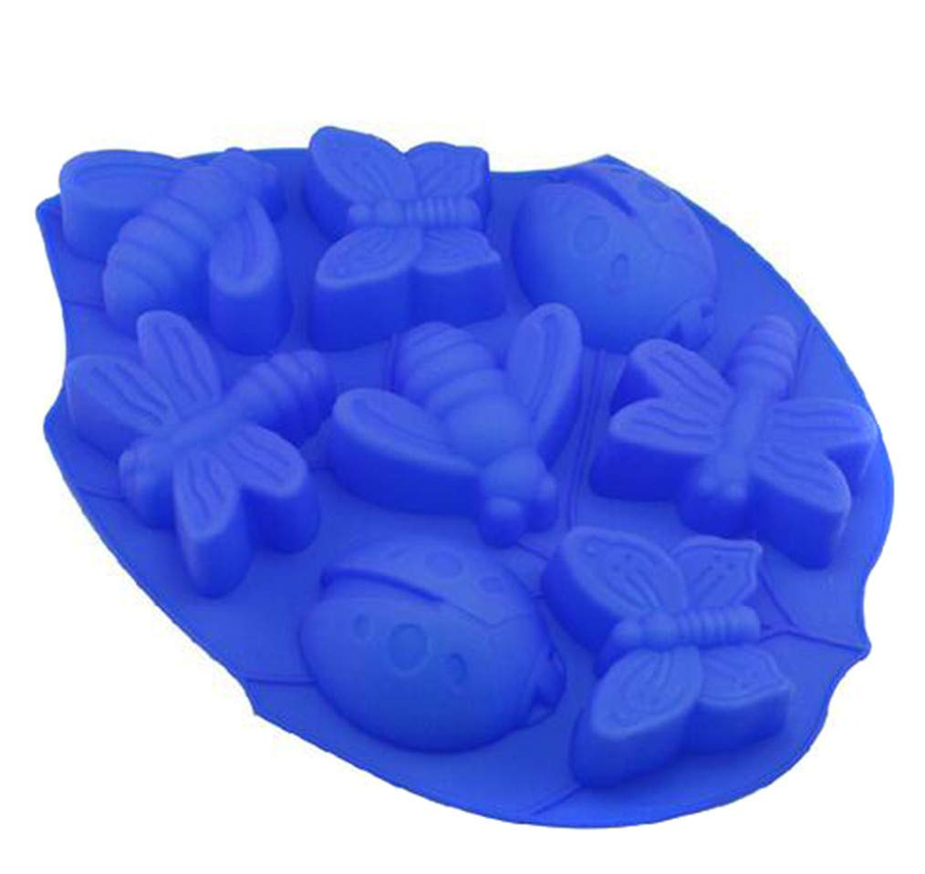 Cngstar Blue 8 Cavity Insect Collection Style Fondant Candy Silicone Mold for Sugarcraft Cake Decoration Polymer Clay Soap Wax Making Crafting Projects Cupcake Topper