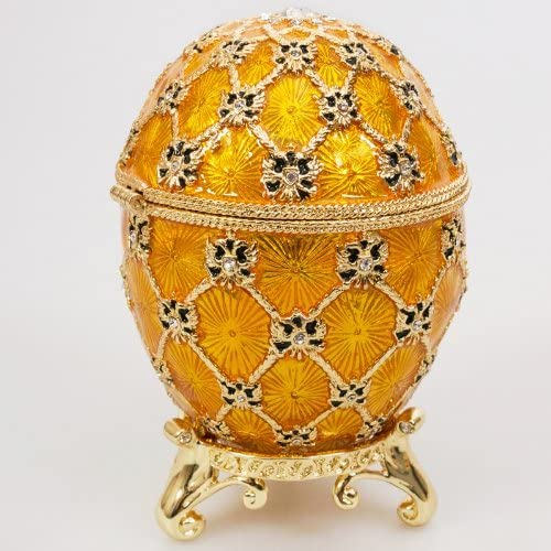 Handmade Swarovski Crystals The Imperial Coronation Gold Plated Faberge Style Egg Box Figurine Limited Edition Collectible Faberge Reproduction
