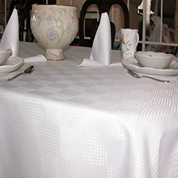 Tablecloths Linen, Special Dobby Weave Fabric, White, 100% Polyester,  Machine Washable