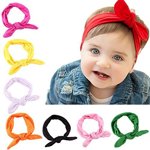 8 Pack Baby Girl Cute Headband Headwraps Elastic Bunny Ears Hair Band ()