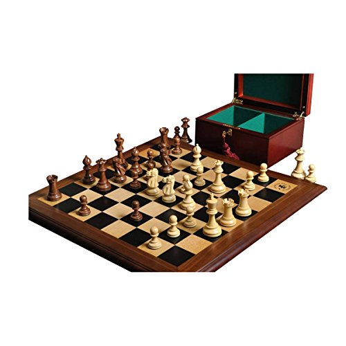 (The House of Staunton The Superior Grandmaster Chess Set, Box, and Board Combination - Golden Rosewood and Natural Boxwood)
