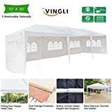 VINGLI 10′ x 30′ Outdoor Canopy Party Wedding Tent,w/5 Removable Sidewalls,Upgraded Steady Unique Frame Structure,Sunshade Shelter Anti UV Protection BBQ Event Gazebo Pavilion,White For Sale