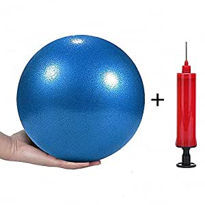 Mini Yoga Pilates Ball 10 Inch for Stability Exercise Training Gym Anti Burst and Slip Resistant Balls with Inflatable Straw, 4332486820, Blue