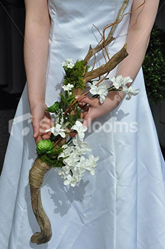 (Unique Rustic Artificial White Dendrobium Orchid and Green Succulent Overarm Bouquet Made From Wood)