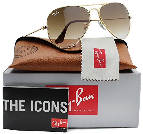 (Ray-Ban RB3025 Aviator Sunglasses Shiny Gold w/Brown Gradient (001/51) 3025 00151 58mm Authentic)