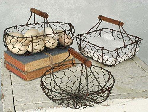 Chicken Wire Baskets in Rust Finish Set of Three (Egg Primitive Basket)