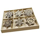 30 Pcs Wooden Ornaments Hanging Embellishments Crafts,Hanging Ornament Set for Wedding Valentine's Day Gift DIY Christmas Tree Xmas Decorations with Wooden Storage Box and Jute Twines (Each of 5)
