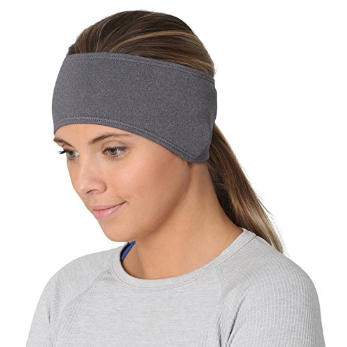 TrailHeads Women's Ponytail Headband | Moisture Wicking Ear Band | The Power Running Headband (Heather Grey)