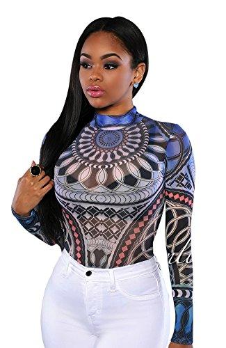 Women's Boho Floral Long Sleeves Romper Custom High Collar Jumpsuit Bodysuit (L(US4), Blue)