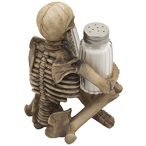 Scary Skeleton Glass Salt and Pepper Shaker Set with Decorative Spice Rack Display Stand Holder Figurine for Spooky Halloween Party Decorations and Skulls & Skeletons Kitchen Decor Table Centerpiece Sculptures As Medieval or Gothic Gifts