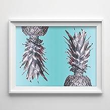 """Silver Foil Pineapples on Mint"" 8x11.5 Print"