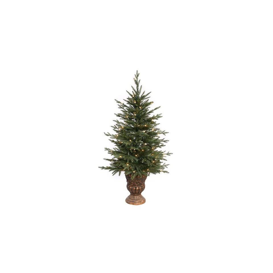 4 Pre Lit Potted Norwood Fir Artificial Christmas Tree   Clear Lights