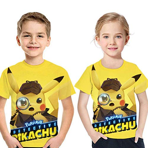 (Pokemon Detective Lovely Pikachu Cosplay PVC T-Shir Kid's Boy Girl 3D Print Short Sleeve Cosplay American Adult 3D Movie (#6,5-6 T(Height:120CM)))
