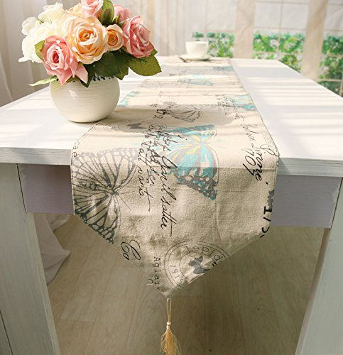 Animal Butterfly Pattern With Tassel Table Runner Cotton Linen Blend Fabric 12 x 71 Inch For Party Holiday Christmas New Year Events Wedding Home Kitchen Bedroom Decor Dresser Cover (Shabby Chic Sofa Table)