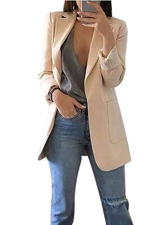e489d56fb Femme Élégant Blazer à Manches Longues Slim Fit OL Bureau Affaires Veste De  Costume Manteau Cardigan Blouson Jacket