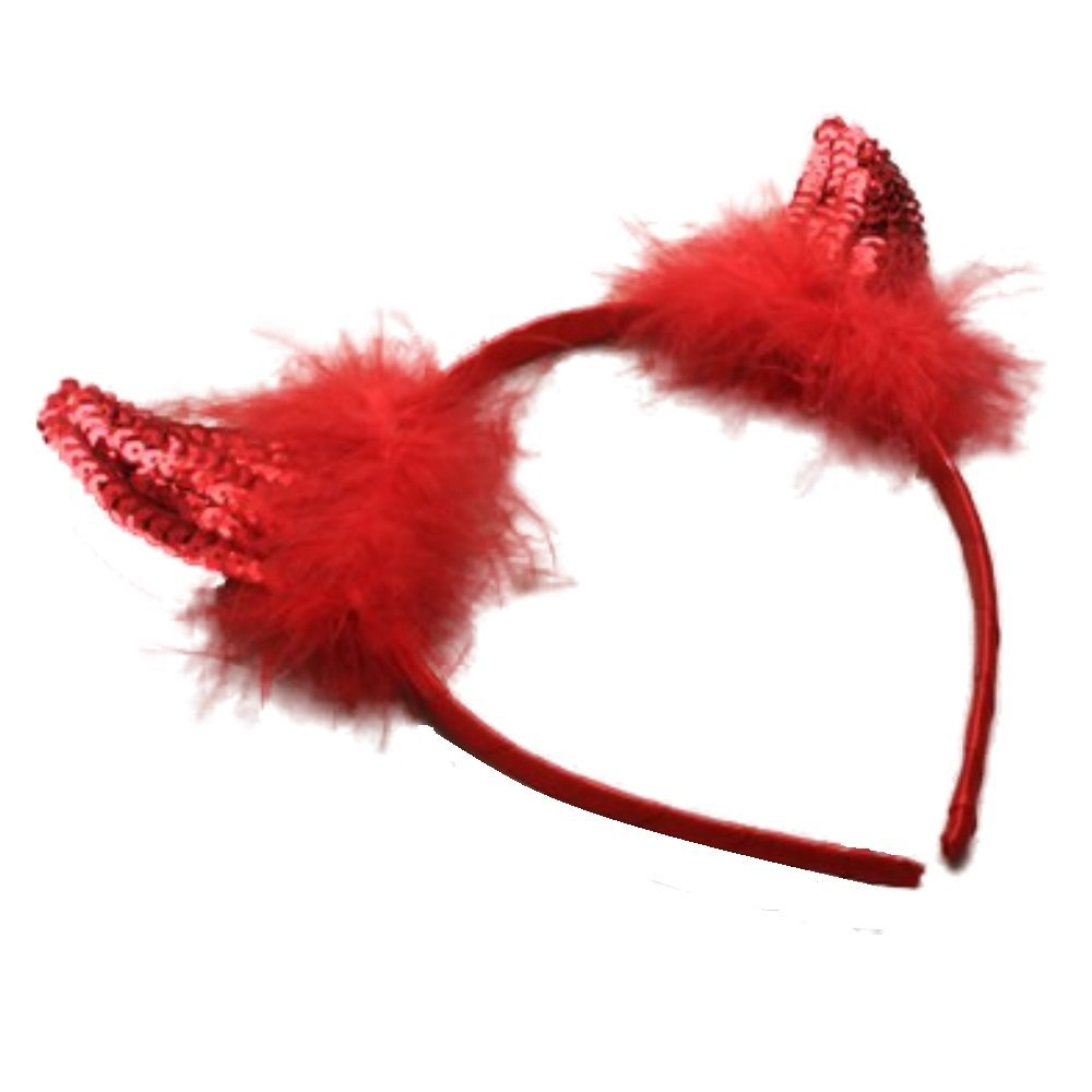 Sequins Devils Horns Ears Alice Headband Hair Band Red Halloween Fancy Dress