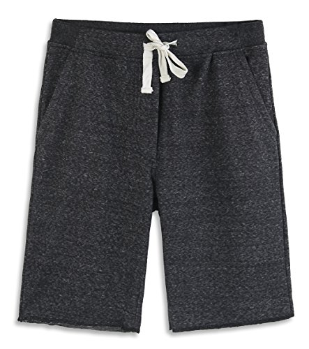 (HARBETH Men's Casual Soft Cotton Elastic Fleece Jogger Gym Active Pocket Shorts Black Melange M)