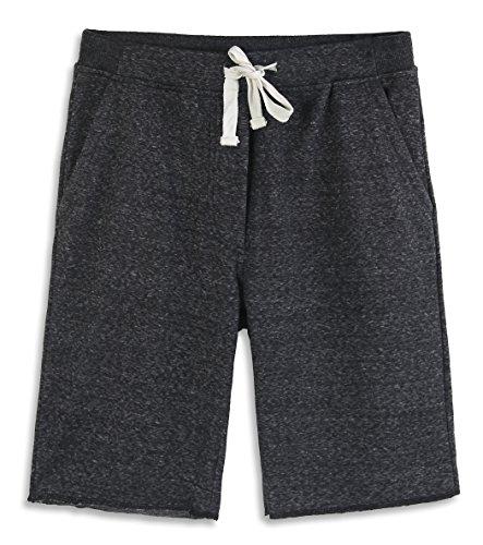 HARBETH Men's Casual Soft Cotton Elastic Fleece Jogger Gym Active Pocket Shorts Black Melange XXL ()