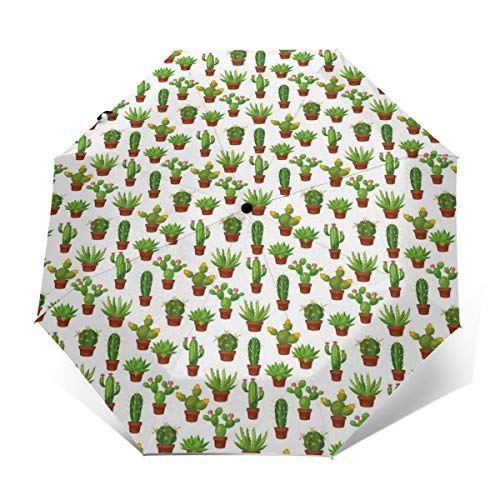 Automatic Open Close tri-fold Windproof Travel umbrella,Abstract Floral Pattern With Vases And Pots Botany Spring Season -