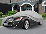 NEH SUPERIOR TRUE 100% WATERPROOF CAR COVER COVERS MID SIZE SEDAN - ALL SEASON PROTECTION - GRAY COLOR - 3x PILLOW SOFT INNER COTTON LAYER (FITS LENGTH 190