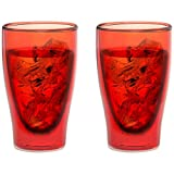Levivo Set 2002000161 Double Walled Thermo Glass, Set of 2 Glasses 400 ml Book Sommerdrinks Long, Red, 22.5 x 15.5 x 10.5 cm 2 Units